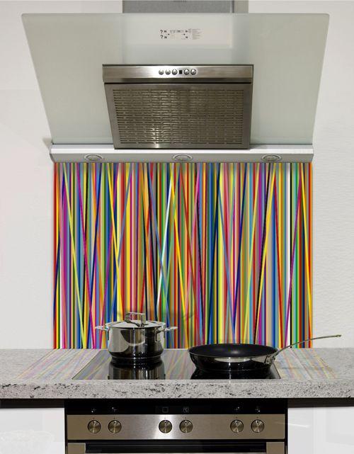 Colour Stripes Printed Glass Splashback from DIYSplashbacks.co.uk