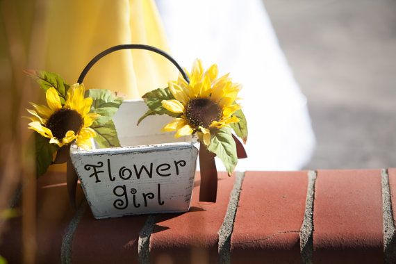 Rustic Sunflower Wedding Wooden Flowergirl by jcsunflowercreations