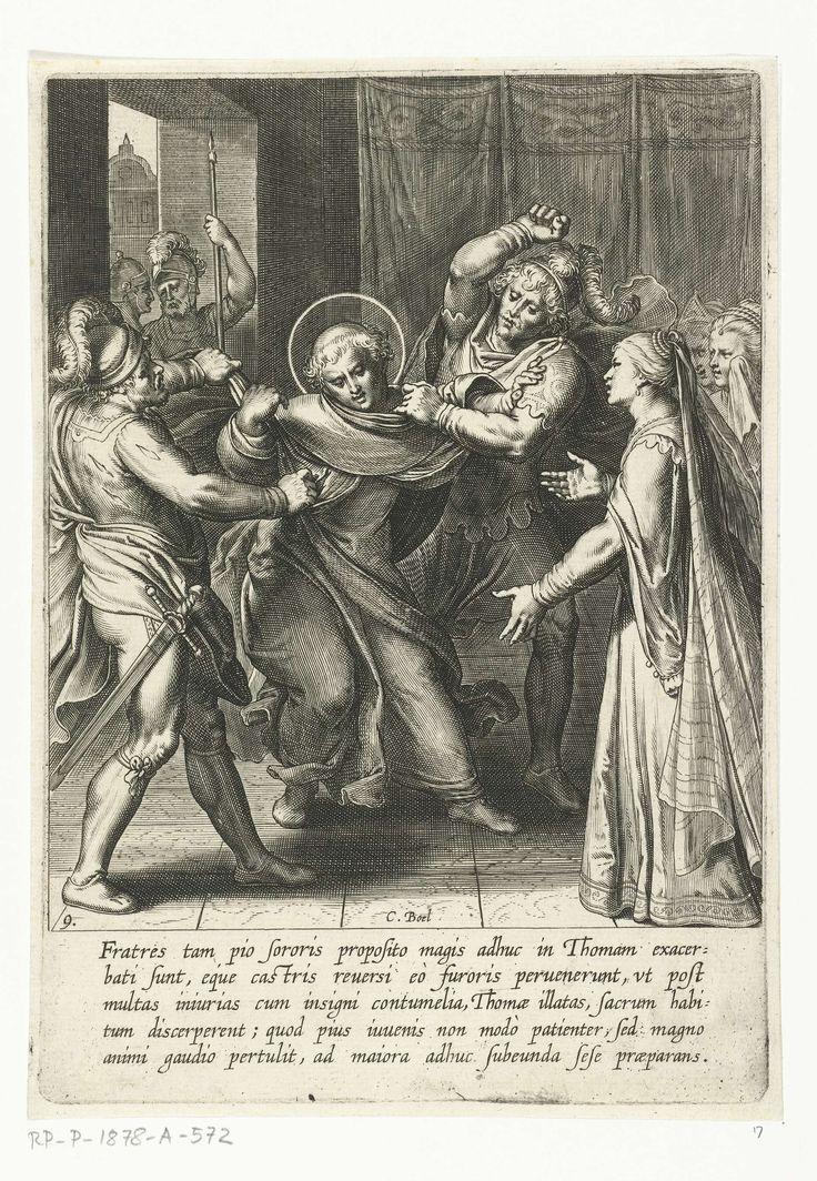 Cornelis Boel | Thomas wordt gevangen genomen, Cornelis Boel, Otto van Veen, Otto van Veen, 1610 | Thomas broers verschreuren zijn habijt en stoppen hem in de gevangenis. Prent uit een serie van 30 prenten die het levensverhaal van Thomas van Aquino verbeelden. De prenten, naar ontwerp van en uitgegeven door Otto van Veen, zijn door C. Boel,  E. van Paenderen, C. Galle en G. Swanenburgh vervaardigd.