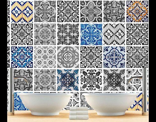 Adesivi per piastrelle - Adesivi di Parete per Piastrelle Patterns Collage - un prodotto unico di Wall-Decals su DaWanda