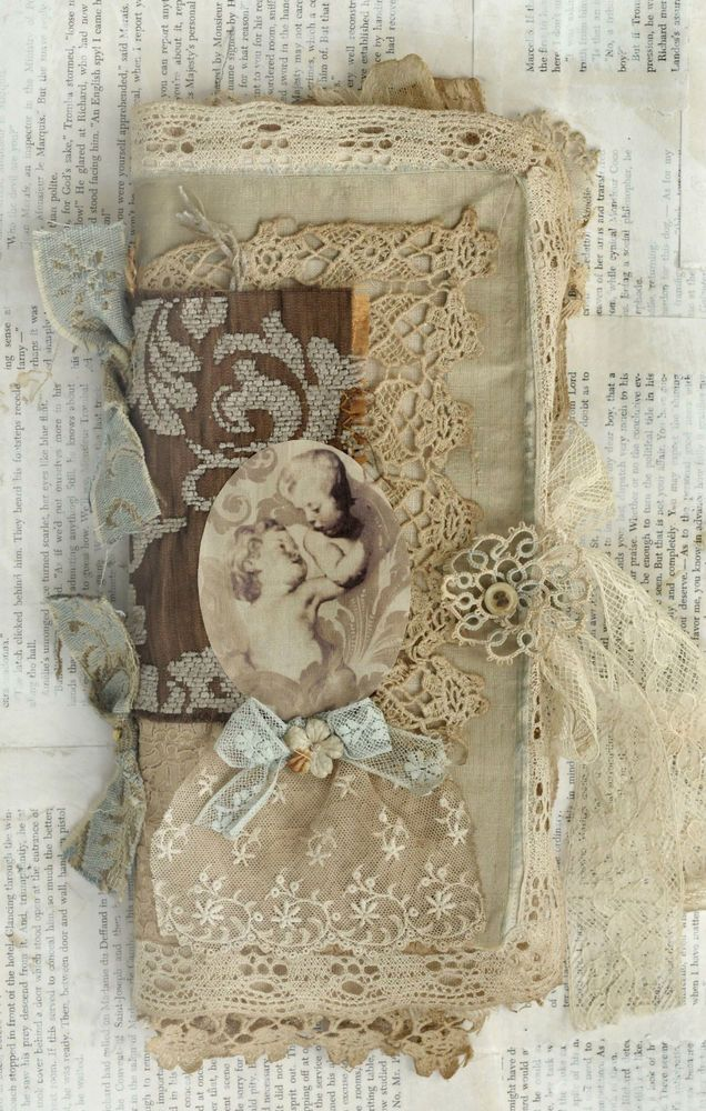 MIXED MEDIA FABRIC COLLAGE BOOK OF FRENCH CHERUBS #Art #Sale