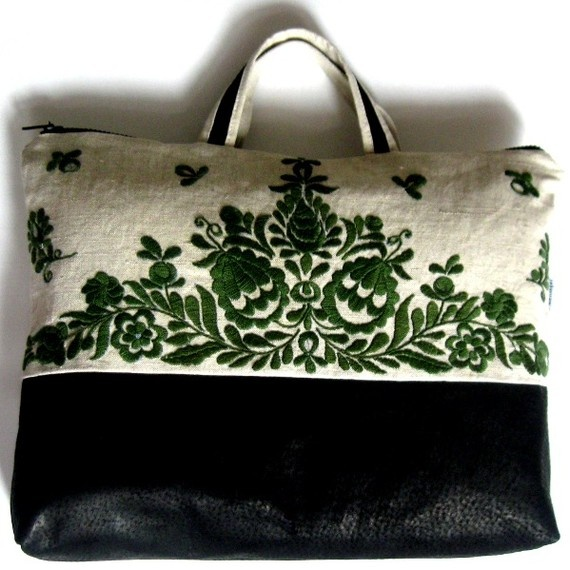 laptop bag hand embroidered with Hungarian pattern.