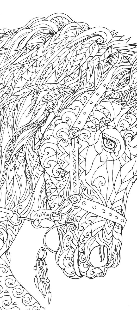 Coloring pages Printable Adult Coloring book Horse Clip Art Hand Drawn Original drawings by Valentina Ra.