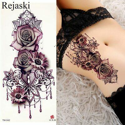 Details about Tatuajes Temporales Para Mujer Flores Rosas Mariposas Sexys Goticos ALTA CALIDAD