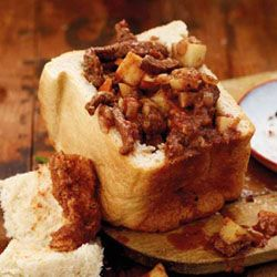 Bunny chow - favorite indian fast food, consisting of tasty curry in a quarter or half loaf of bread. Bread absorbs the gravy and makes a tasty meal for the brave souls who like spicy hot food