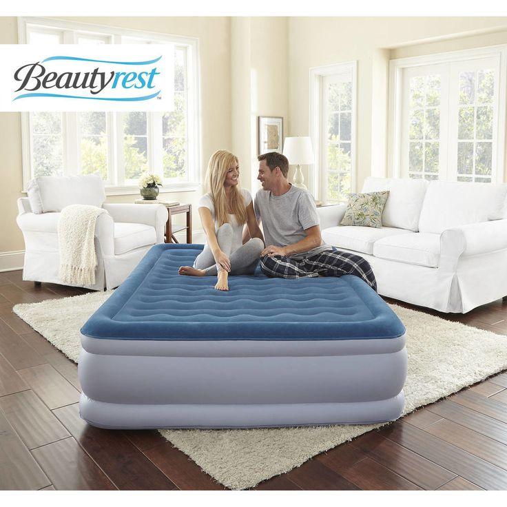 Simmons Beautyrest Air Mattress Inflatable Raised Queen Bed Built In Pump Guest #Beautyrest