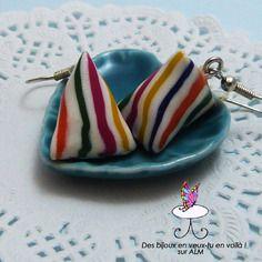 Boucles d'oreilles bonbons berlingots, bijou gourmand  fimo.  Polymer clay. http://des-bijoux-en-veux-tu.alittlemarket.com www.facebook.com/Desbijouxenveuxtuenvoila