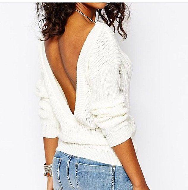 Белый свитер с открытой спиной - Основная одежда во Владивостоке