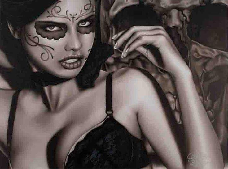 Seductress by Big Ceeze Model Sexy Tattooed Mask Fine Art Print