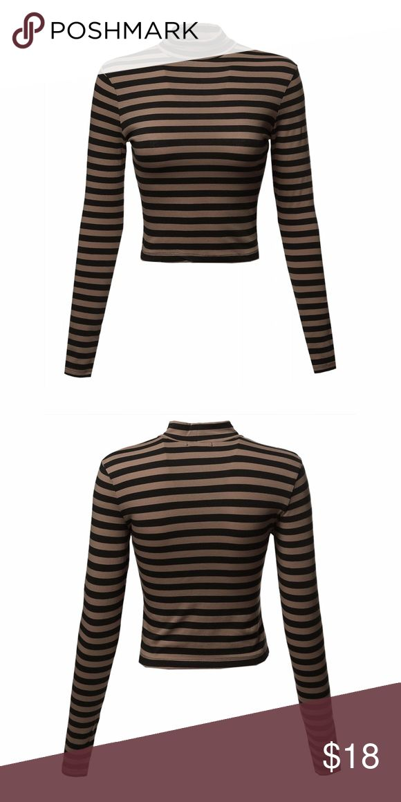Long Sleeve Stripe Turtleneck Crop Top NWT. Mocha/Black. Chest: 26in. | Shoulder: 13in. | Sleeve: 22in. | 17in. Material: 95% cotton/5% spandex. Brand: Ambiance. Listed for exposure. Nasty Gal Tops Crop Tops