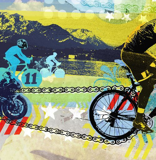 Cycling addicts unite - an illustration by Tim Marrs for Procycling magazine