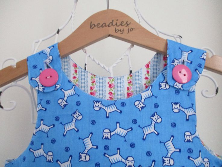 Reversible Dress, pinafore, blue zebra, sky blue zebra print, blue gingham chintz, 2in1 dress, chintzy dress, floral dress, patch pocket by beadiesbyjo on Etsy