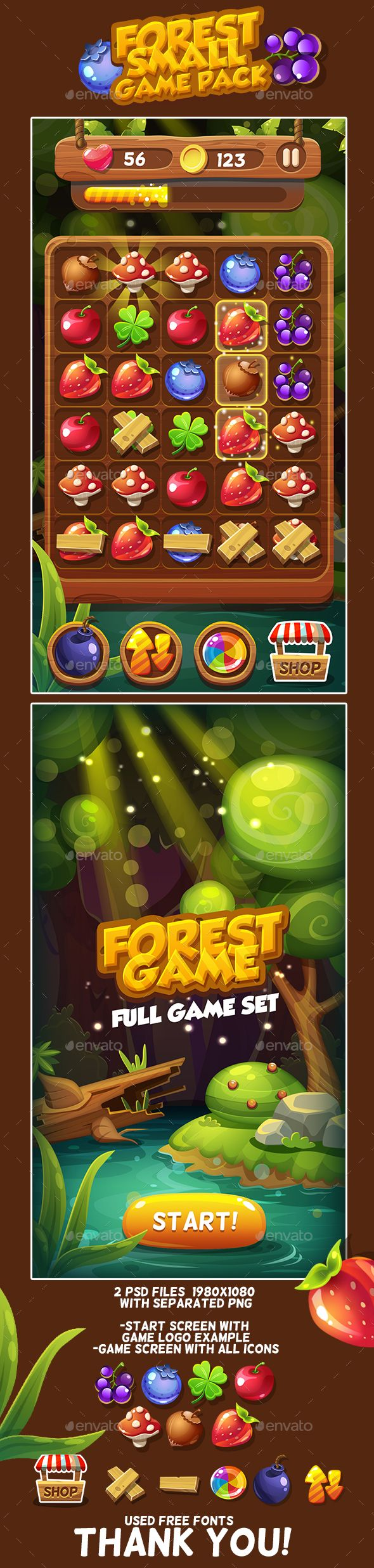 Forest Game Icons Pack  — PSD Template #berry #1980x1080 • Download ➝…