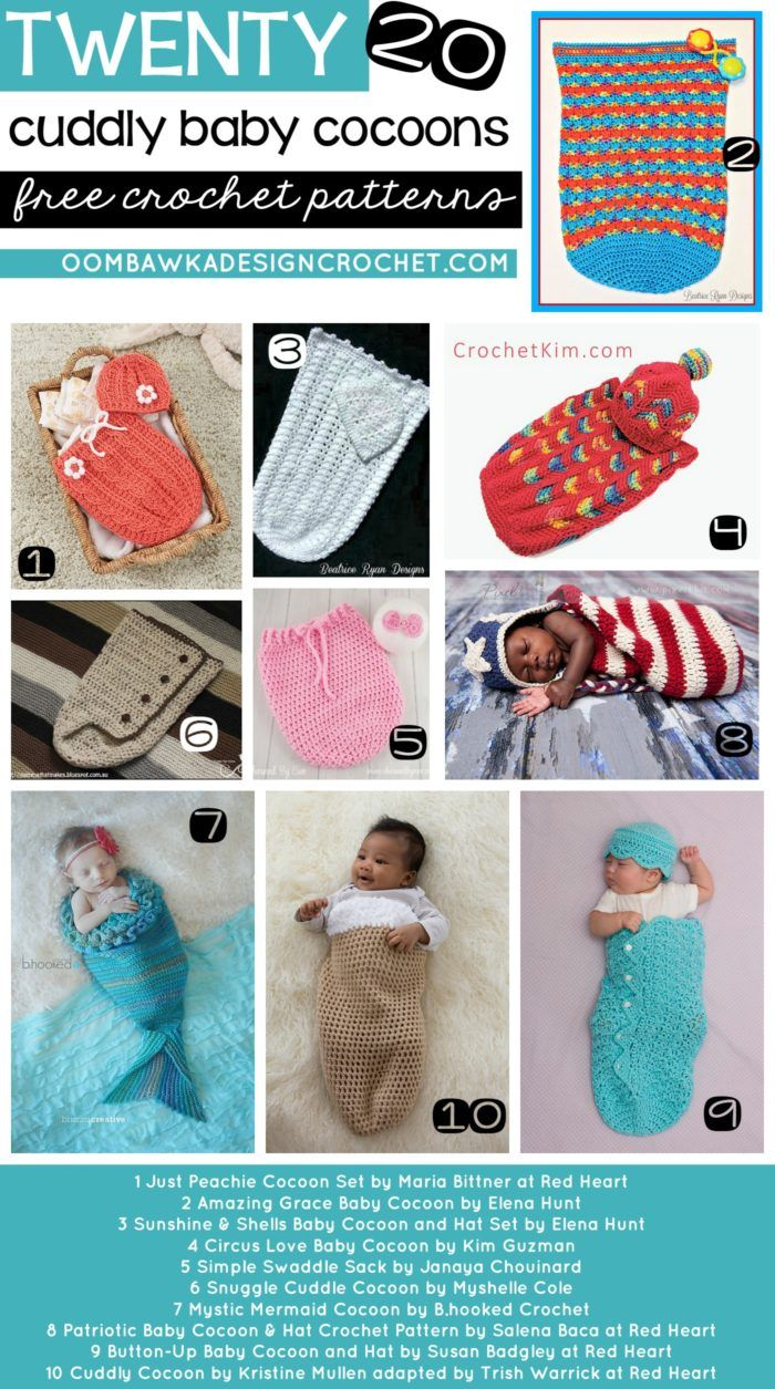 20 Free Patterns for Crocheted Baby Cocoons http://oombawkadesigncrochet.com/2017/02/20-free-patterns-for-crocheted-baby-cocoons.html