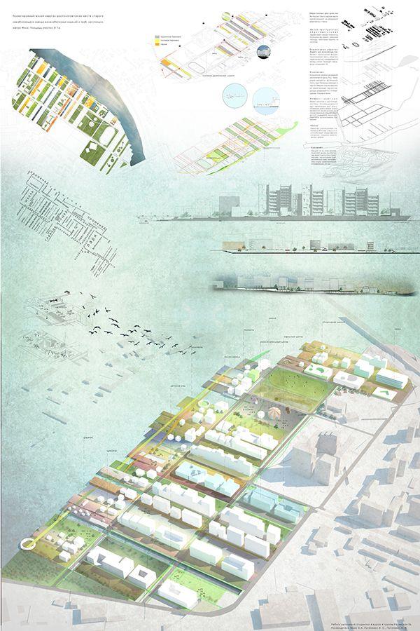 architecture presentation layout _ Residential quarter by Kate Retinskaya, via Behance