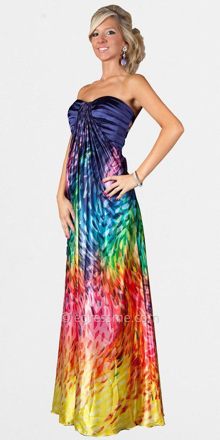 Rainbow Prom Dresses | alignment , Bright rainbow print promflirty rainbow gorgeous rainbow ...