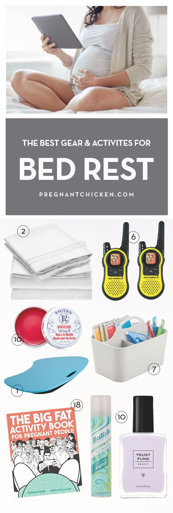 Surviving bed rest during pregnancy is hard. Here are some amazing ideas, gear and activities to help pass the time if you're looking for things to do – or if you're putting a kit together for someone.  via @pregnantchicken