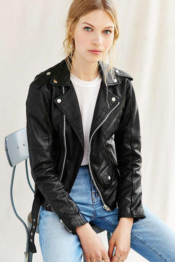 Slide View: 1: PeleCheCoco Leather Moto Jacket