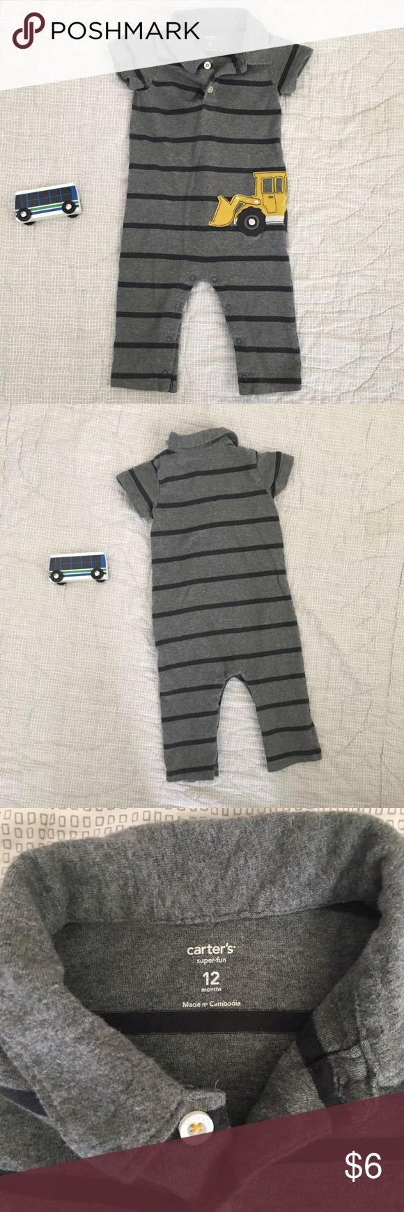 Carter's grey one piece collar excavator 12 months Carter's size gray and black 12 months construction one piece romper with snap closure pants and collar top with buttons. Has a yellow backhoe excavator digger on the front. Smoke free dog friendly home EUC Carter's One Pieces Bodysuits