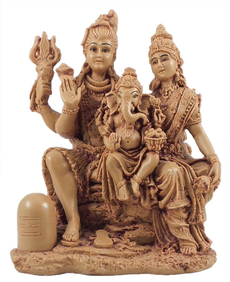 Shiva,Parvati+with+Ganesha+(Stone+Dust)