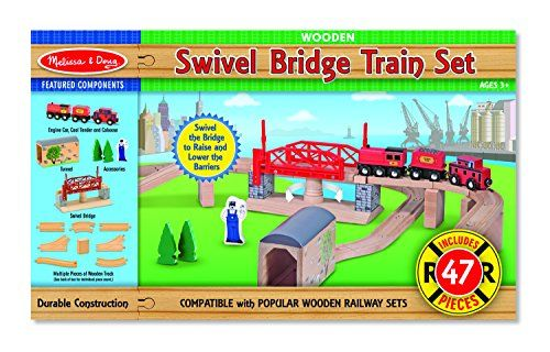 Choo choo! Here comes one head-turning wooden railway set! Young engineers will take delight in the special features of this 47+ piece train system. It includes ascending and descending track track s...