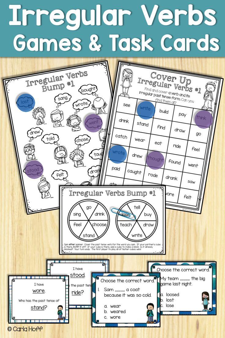 Irregular Verbs Task Cards And Games Task Cards Verb Task Cards Task Card Activities [ 1104 x 736 Pixel ]