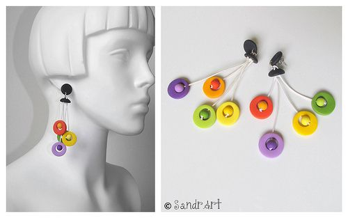 sandra art: Clay Plays, Arracad Difer, Clay Inspiration, Earrings Ideas, Clay Bijou Jew, Polymer Clay, Bisutería Fimo, Clay Stuff, Photo