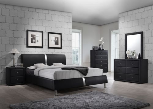 4 PC Generation Trade Black Enzo Collection Queen Size Platform Bedroom Set  100231