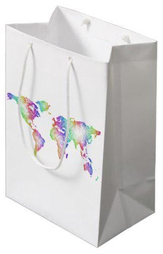 World Map Gift Bags.Rainbow World Map Medium Gift Bag In 2018 Wrapping Gift Bags