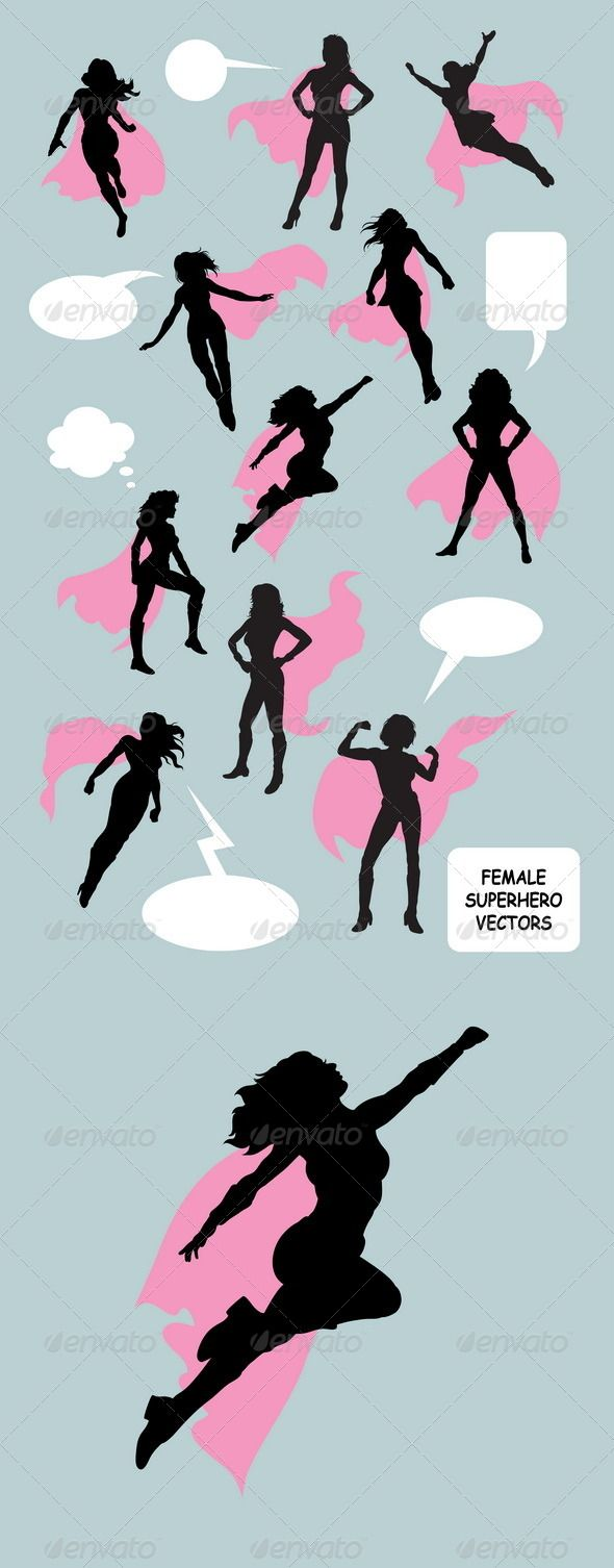 Female Superhero Silhouettes #GraphicRiver Woman superhero with blank speech bubbles vector (Can use any size you want without loss resolution). ZIP included : AI rgb, EPS8 cmyk, JPEG high resolution, PNG transparent, CDR (CorelDraw), and PSD (Photoshop). Good use for your symbol, logo, sticker, or any design you want. I hope you like my silhouette design.