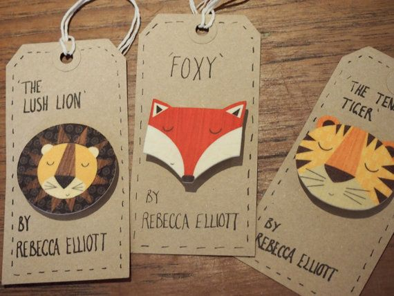 3 x shrink plastic brooches / badges - The Lush Lion, The Tenacious Toger and Foxy the Fox by Rebecca Elliott