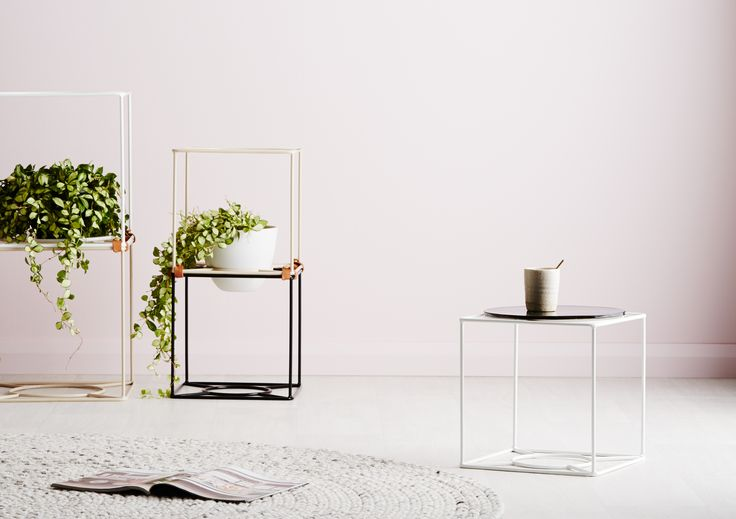 Ivy Muse HOMEBODY Collection; 'Cubby' plant stand (Junior and Senior) in Limited Edition Nude, White and Black.