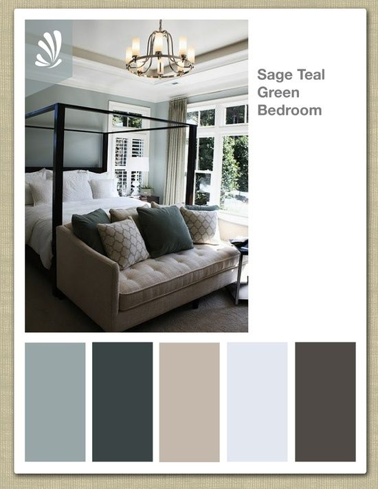 Sage cream oil gray and teal green color palette for Master bedroom with 2 beds