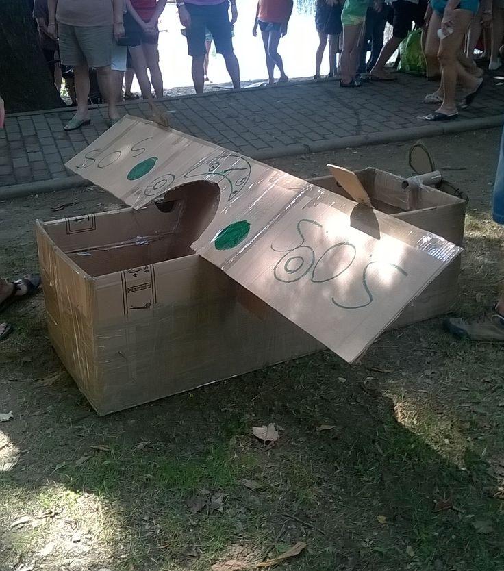 autoproduzione canoe di cartone- lago Pusiano