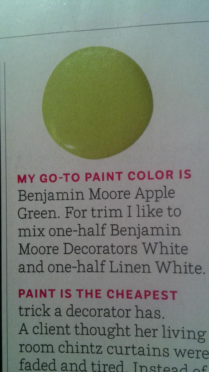 Benjamin Moore Apple Green - Mario Buatta House Beautiful Oct 2012
