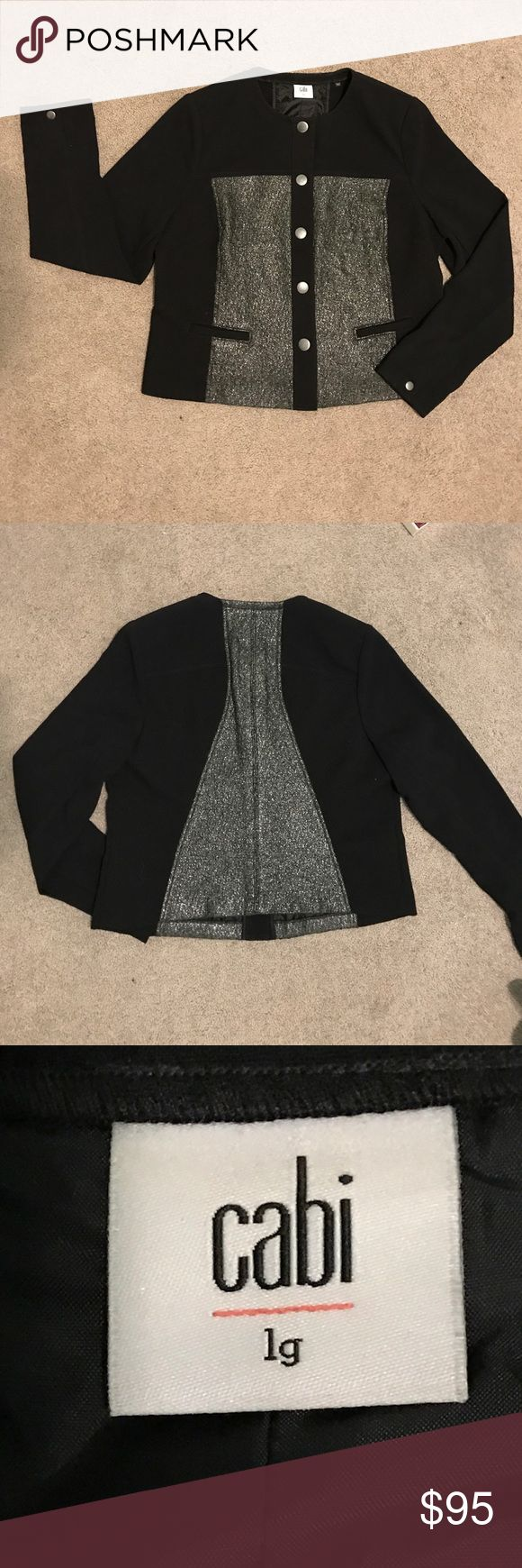 CAbi NWOT Media jacket (fall 2015) size large Beautiful and stylish blazer to add to your wardrobe. Perfect for the office for a night out on the town. Polyester/rayon/spandex blend. Machine washable. CAbi Jackets & Coats