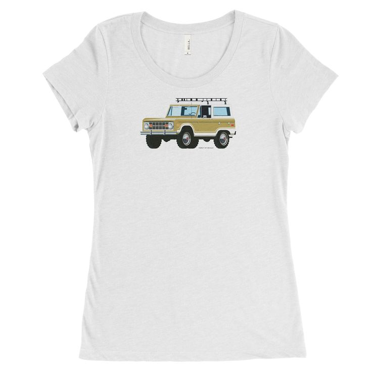 Ford Bronco, Car in Gold on White, Women's Tee