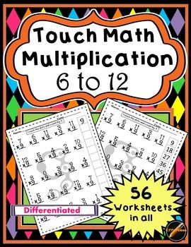 56 differentiated Touch Math Multiplication worksheets with answer keys. Half of worksheets have multiples provided and other half do not (students do this). Just touch the dots on the numbers and skip count. With multiples of the number on the worksheet, multiplication has never