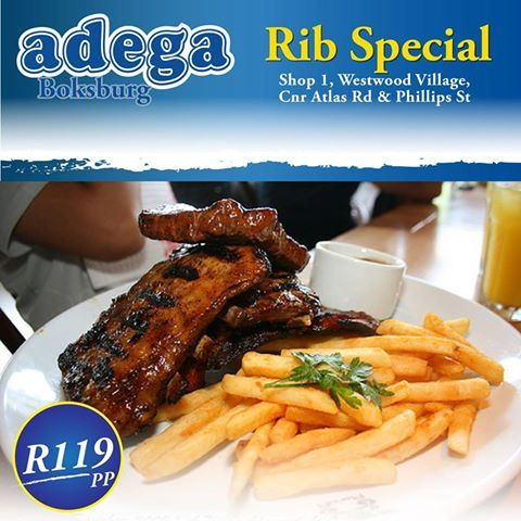 RIB SPECIAL @ ADEGA BOKSBURG (24/01/2016-27/01/2016):  *1kg Ribs & Chips for only R119!  Enjoy it every Sunday from 4pm, All day Monday and Tuesday and Wednesday til 5pm.  Don't miss out! Book your table today 011 918 2219.  T's&C's apply.  Shop 1, Westwood Village, Corner Atlas Road & Phillips Street, Boksburg.  TRADITIONAL PORTUGUESE CUISINE. ALWAYS GOOD. ALWAYS OPEN. #AdegaBoksburg #Ribs