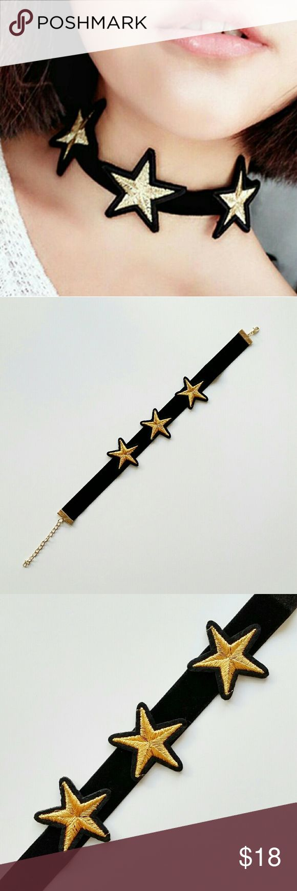 "Gold Star Patch Velvet Choker Gold Star Patch Velvet Choker  *Three gold embroidered patches on black velvet choker. *Each star's placement is unique. Each choker has different length gap between stars and direction they're facing also different. They're placed in more natural way. *12"" in length plus 3"" extender  *New boutique item - No tags. *No trade shop_terracotta Jewelry Necklaces"