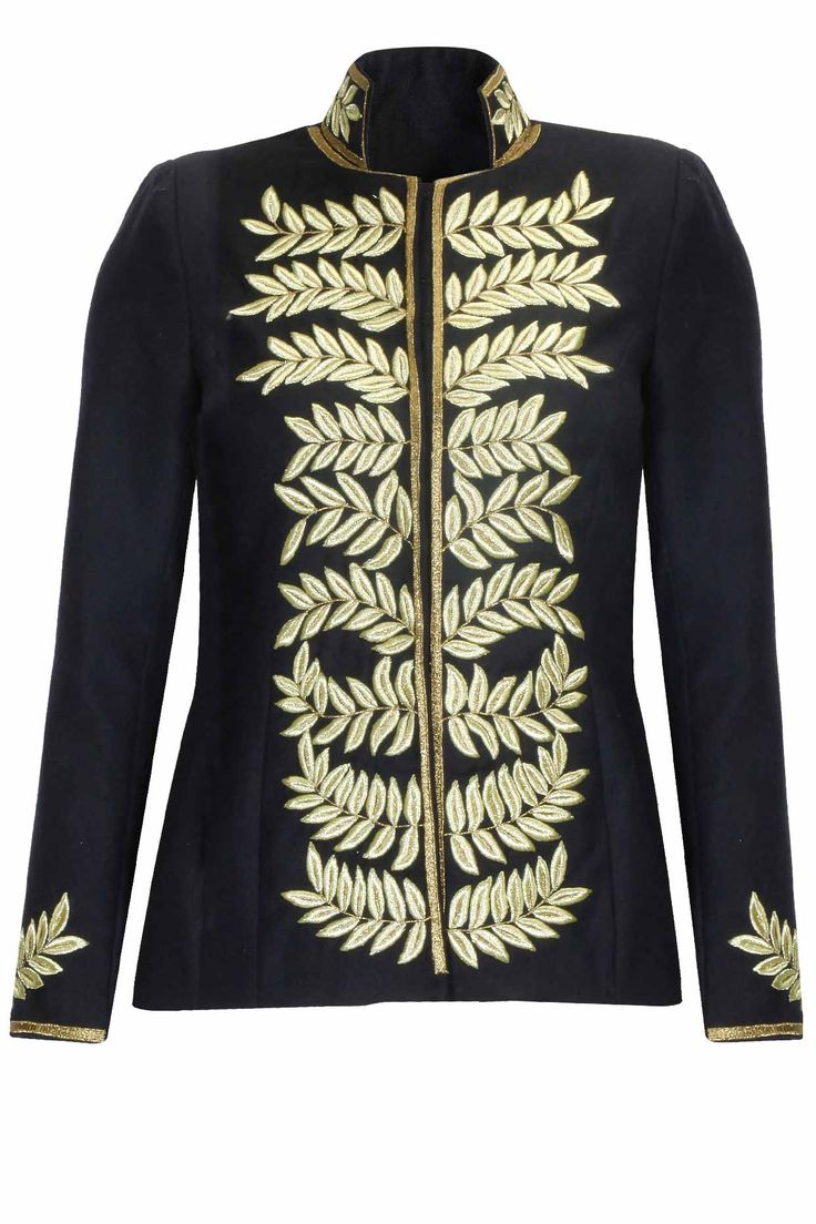Platinoir | Navy and gold leaves embroidered military leather jacket available only at Pernia's Pop Up Shop.