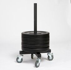 Again Faster - Equipment for CrossFit - Rolling Bumper Plate Storage Racks  Make moving heavy bumper plates around the gym quick and easy.