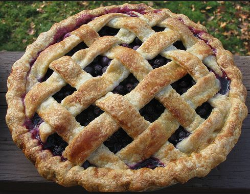 Here is an intensely buttery, struesel, crispy-crust pie. When You plunge the knife into the pie your tongue and mouth will soon experience fresh blueberries.