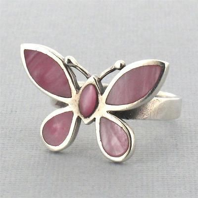 Pink Butterfly Inlay Mother of Pearl Shell .925 Sterling Silver Ring Size 8