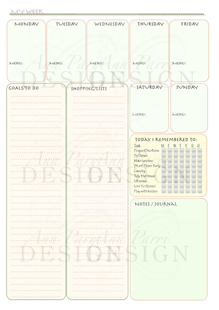 89 Best Binder Pages Weekly Planners Images On Pinterest