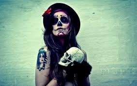 dolled up Mexican skull woman