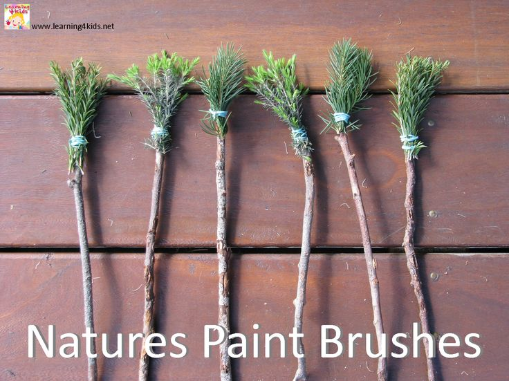 Paint brushes made from leaves. Forest Schools. Outdoor learning. Painting. Creative Development. Teaching. Classroom. Resources. EYFS.