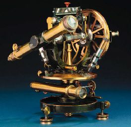 A late 19th-Century lacquered-brass and nickel-finished double telescope transit theodolite signed on the horizontal plate HILDERBRAND FREIBERG i/s No. 3657,