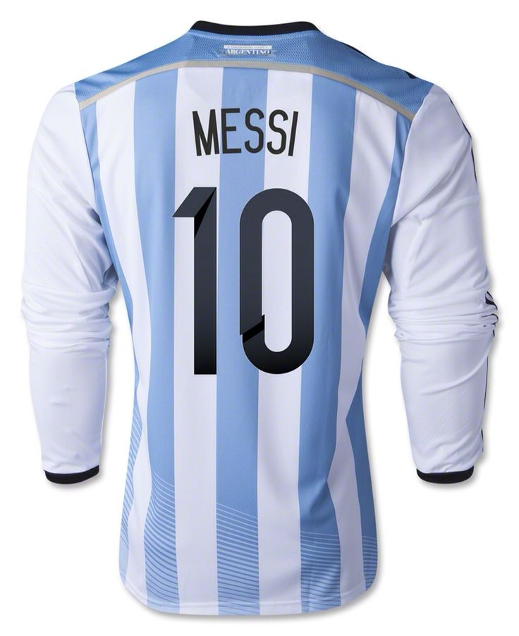 db7372a87 ... 2016 Argentina 10 adidas Lionel Messi Argentina Long Sleeve Home Jersey  2014 ...