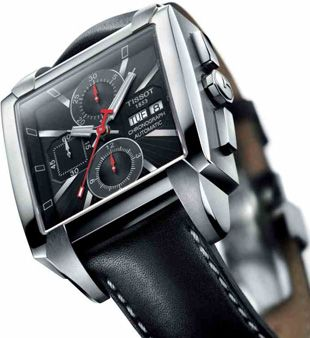 Tissot Quadrato Chrono Valjoux watch boasts a high-precision movement - theSwiss-made ETA Valjoux 7750 chronograph movement.